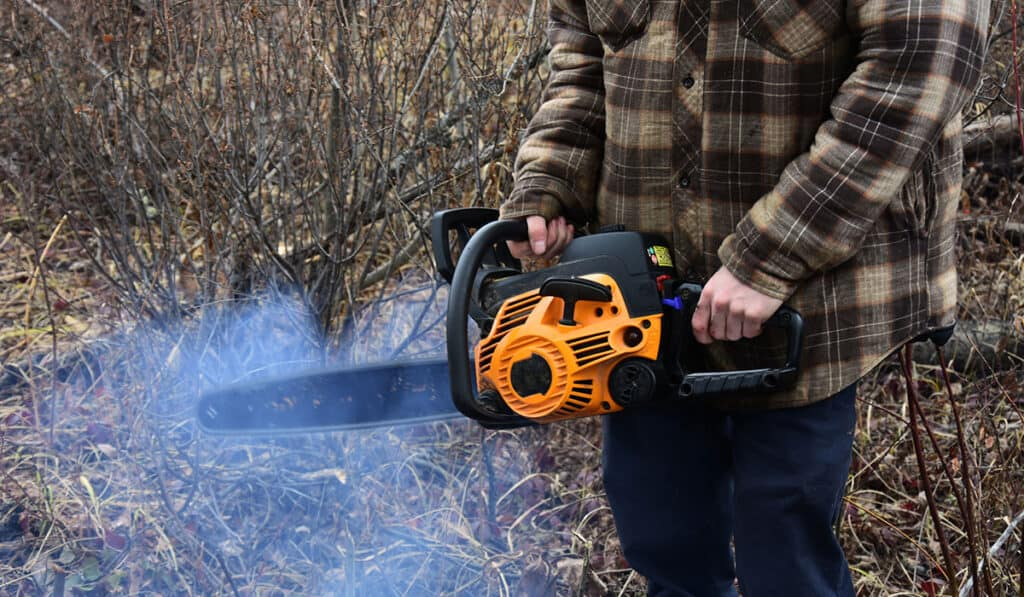 smoke in chainsaw