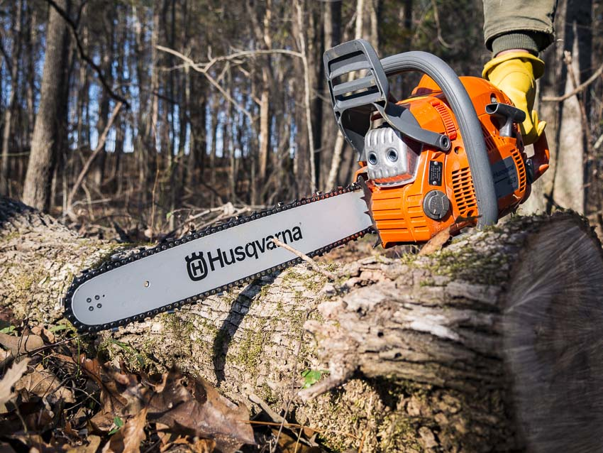chainsaw on the ground